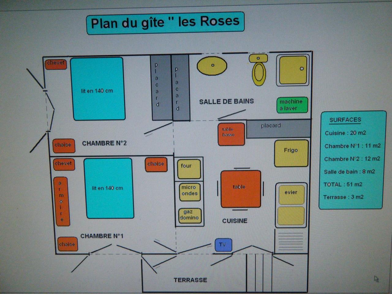 plan du gite les roses à Lézan gard, prés d'Anduze